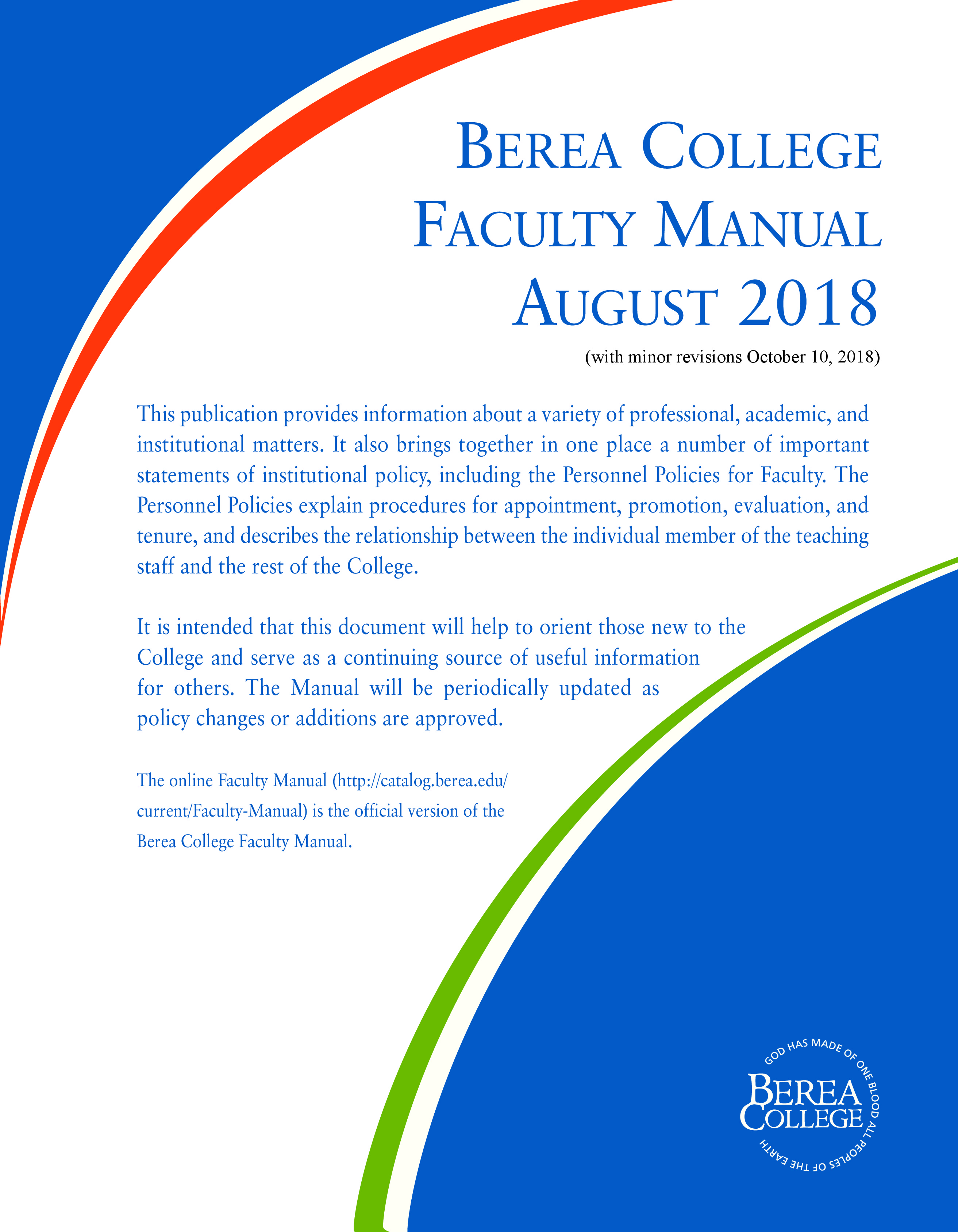 Faculty Manual Cover Page